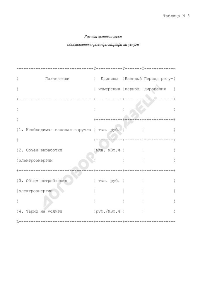 Расчет экономически обоснованного размера тарифа на услуги. Страница 1