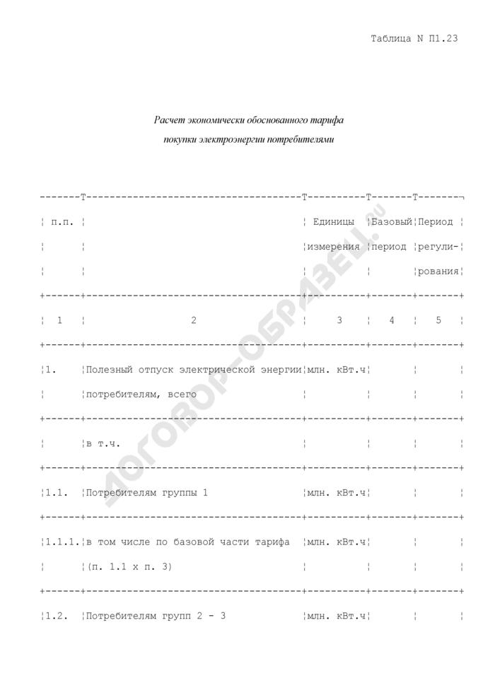 Расчет экономически обоснованного тарифа покупки электроэнергии потребителями (таблица N П1.23). Страница 1