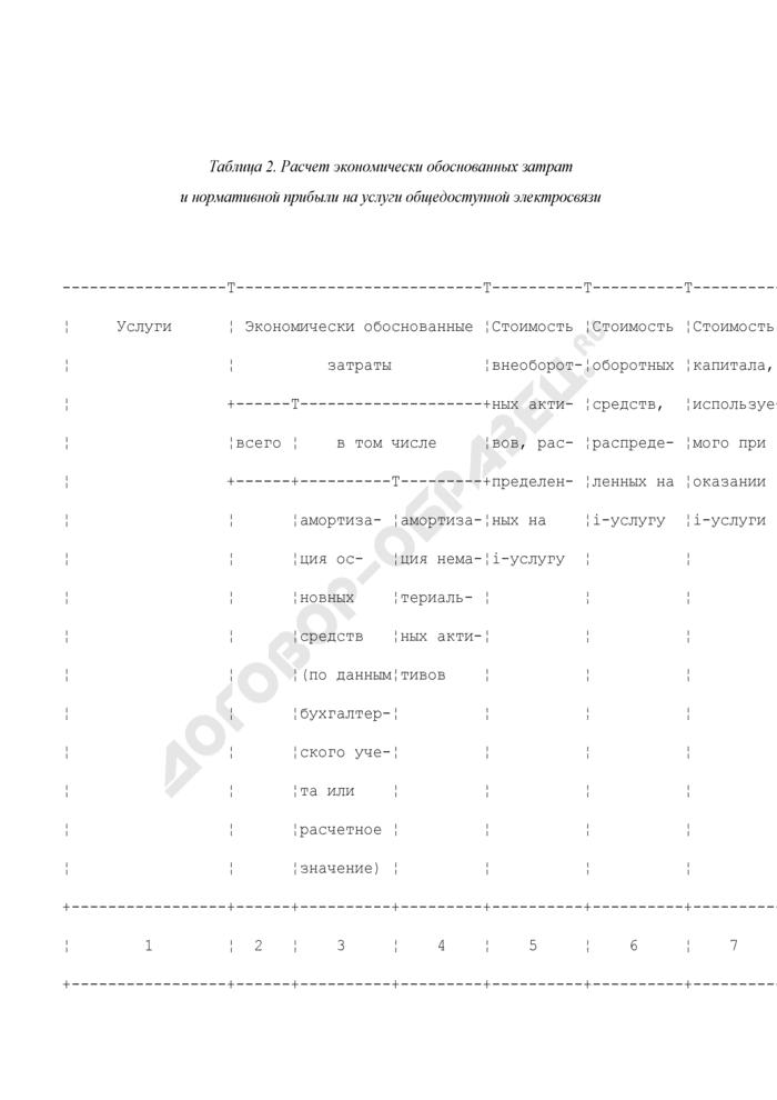 Расчет экономически обоснованных затрат и нормативной прибыли на услуги общедоступной электросвязи (таблица 2). Страница 1