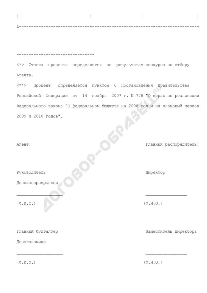 Расчет аванса причитающегося агенту комиссионного вознаграждения за проведение товарных интервенций. Страница 2