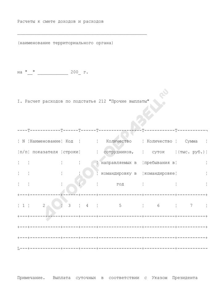 Расчеты к смете доходов и расходов территориального органа Роскартографии на текущий финансовый год. Страница 1