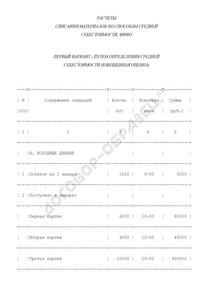 Расчеты списания материалов по способам средней себестоимости, ФИФО и ЛИФО путем определения средней себестоимости (взвешенная оценка) либо путем определения цены в момент отпуска материала (скользящая цена) (пример). Страница 1
