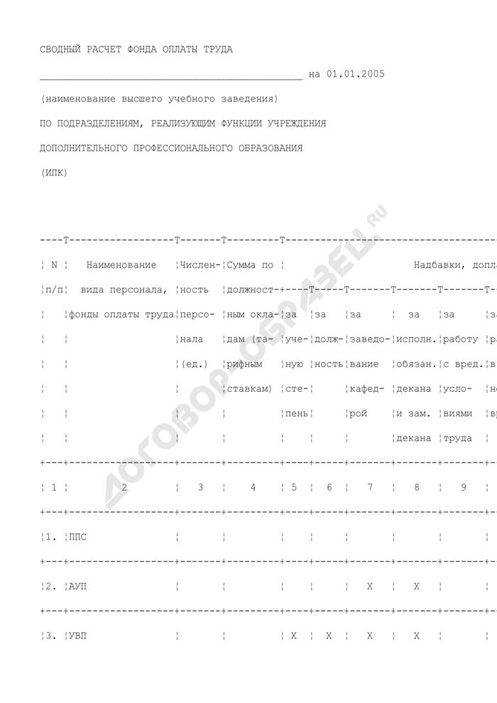 Сводный расчет фонда оплаты труда высшего учебного заведения по подразделениям, реализующим функции учреждения дополнительного профессионального образования. Страница 1
