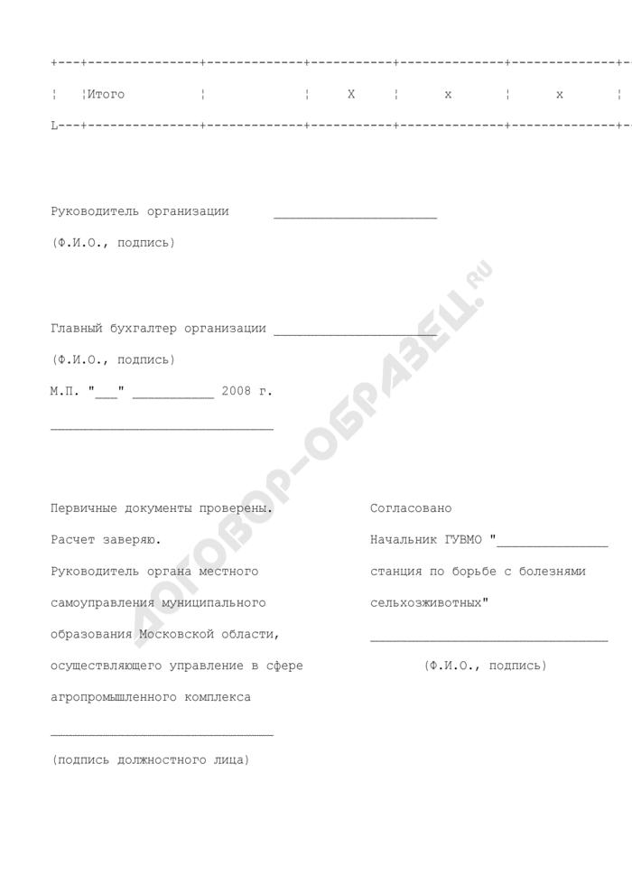 Форма расчета размера субсидий на компенсацию части затрат на приобретение ветпрепаратов, дезсредств и ветинструментария в Московской области. Страница 2