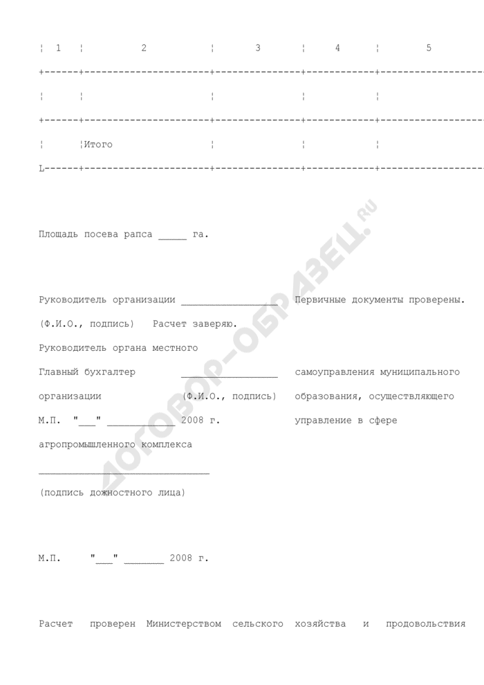 Форма расчета размера субсидий на возмещение части затрат на приобретение средств химизации (химические средства защиты растений для РАПСА) из бюджета Московской области. Страница 2