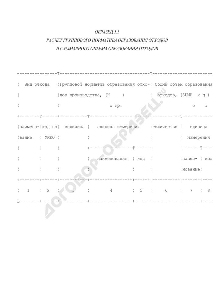 Расчет группового норматива образования отходов и суммарного объема образования отходов (образец). Страница 1