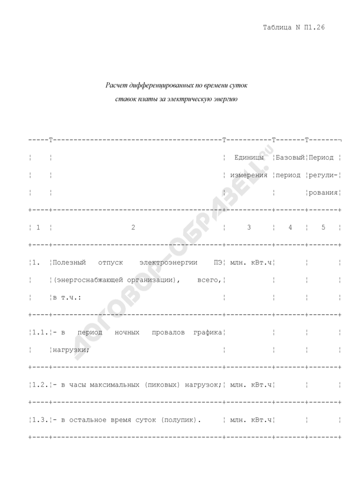 Расчет дифференцированных по времени суток ставок платы за электрическую энергию (таблица N П1.26). Страница 1