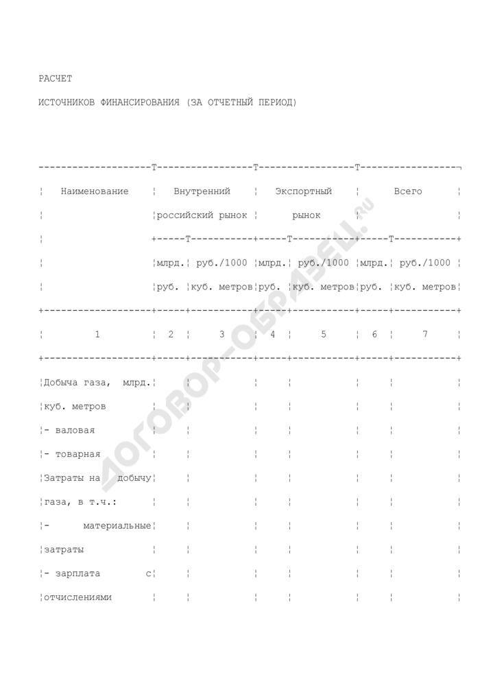 Расчет источников финансирования (за отчетный период). Страница 1