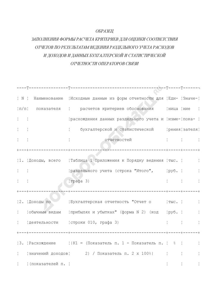 Образец заполнения формы расчета критериев для оценки соответствия отчетов по результатам ведения раздельного учета расходов и доходов и данных бухгалтерской и статистической отчетности операторов связи. Страница 1