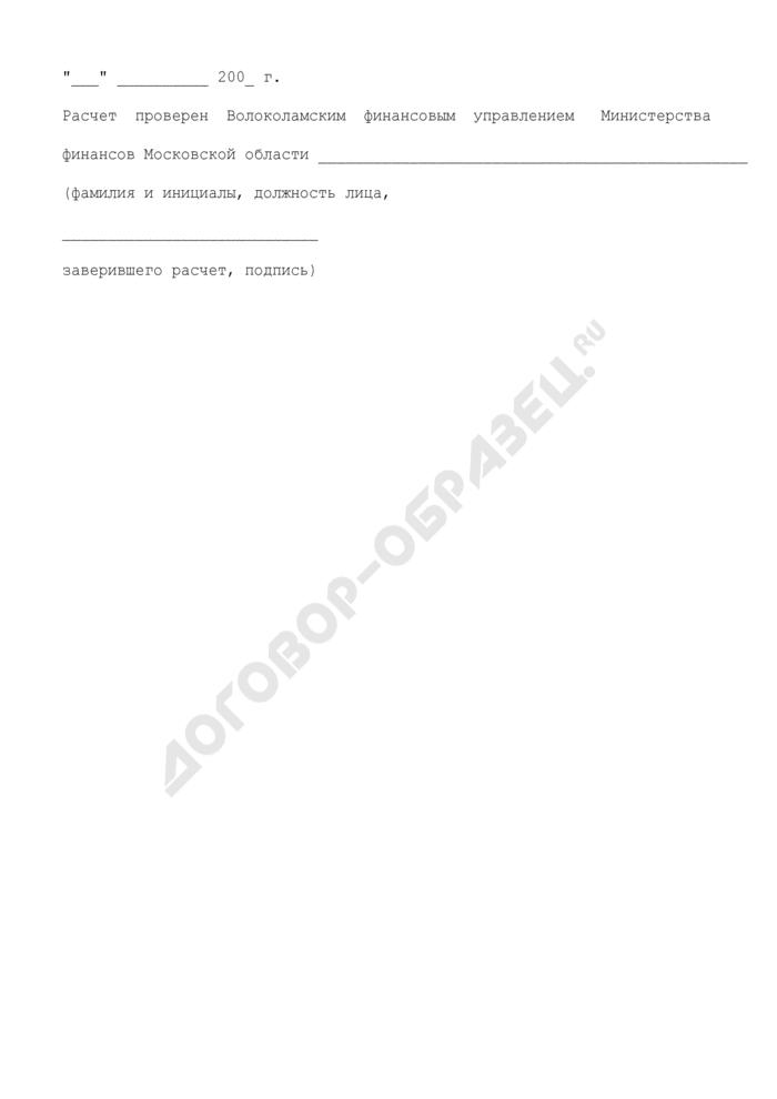 Расчет компенсации, предоставляемой в 2009 году за счет средств бюджета Волоколамского муниципального района Московской области по оплате расходов, связанных с предоставлением поручительства по кредитам на реализацию мероприятий по подготовке жилищно-коммунального хозяйства и социальной сферы Волоколамского муниципального района Московской области к осенне-зимнему периоду 2008/2009 гг.. Страница 3