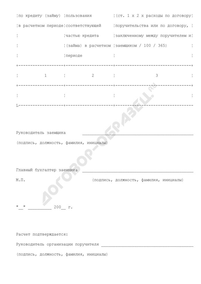 Расчет компенсации, предоставляемой в 2008 году за счет средств бюджета Шатурского муниципального района Московской области по оплате расходов, связанных с предоставлением поручительства. Страница 2
