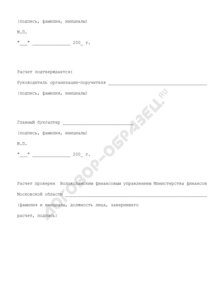 Расчет компенсации затрат организации по уплате процентов по коммерческим кредитам на реализацию мероприятий в сфере строительства социально значимых объектов, предоставляемой в 2008 году за счет средств бюджета Волоколамского муниципального района Московской области по оплате расходов, связанных с предоставлением поручительства. Страница 3