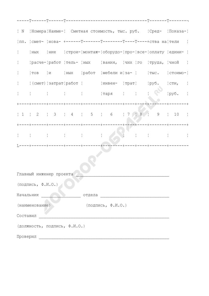 Объектный сметный расчет (объектная смета). Форма N 3. Страница 2