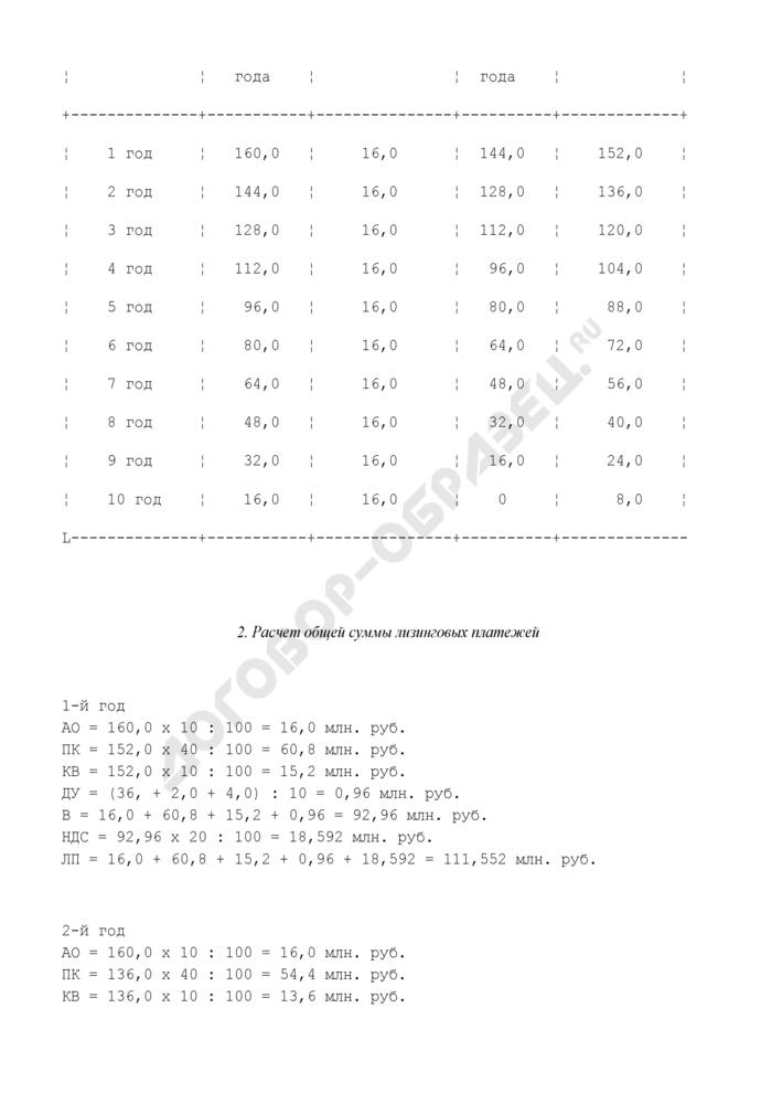 Расчет лизинговых платежей по договору финансового лизинга с полной амортизацией (пример). Страница 2