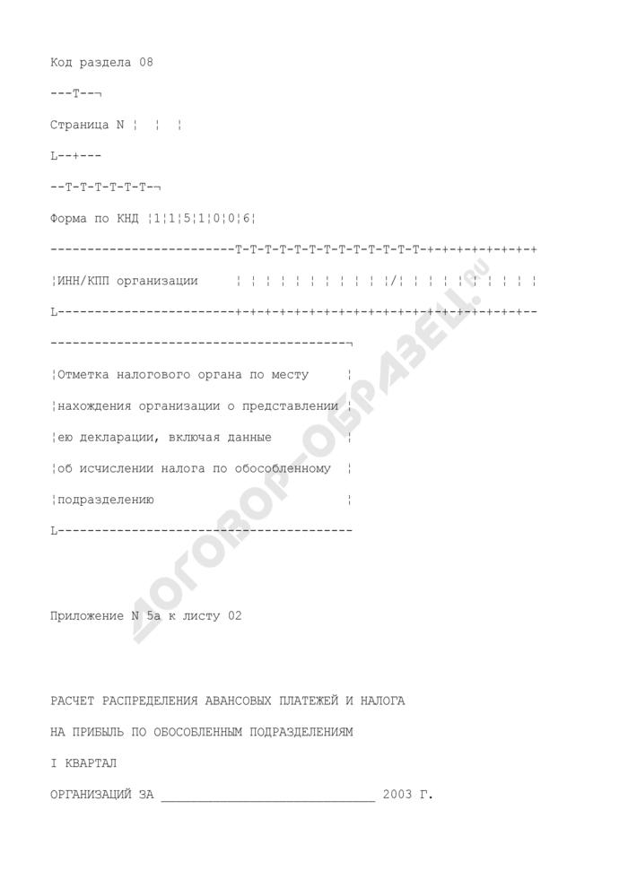 Расчет налога на прибыль организаций за I квартал. Форма N 1151006. Расчет распределения авансовых платежей и налога на прибыль по обособленным подразделениям организаций за I квартал (приложение N 5А к листу 02). Страница 1