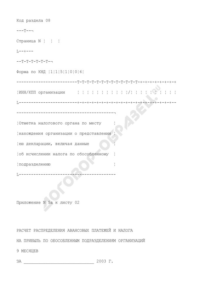 Расчет налога на прибыль организаций за 9 месяцев. Форма N 1151006. Расчет распределения авансовых платежей и налога на прибыль по обособленным подразделениям организаций за 9 месяцев (приложение N 5А к листу 02). Страница 1
