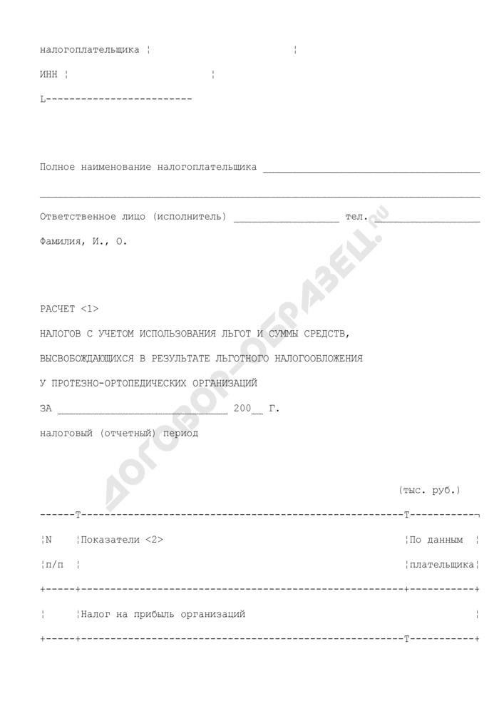 """Расчет налогов с учетом использования льгот и суммы средств, высвобождающихся в результате льготного налогообложения у протезно-ортопедических организаций в Московской области. Форма N 21 """"б. Страница 2"""