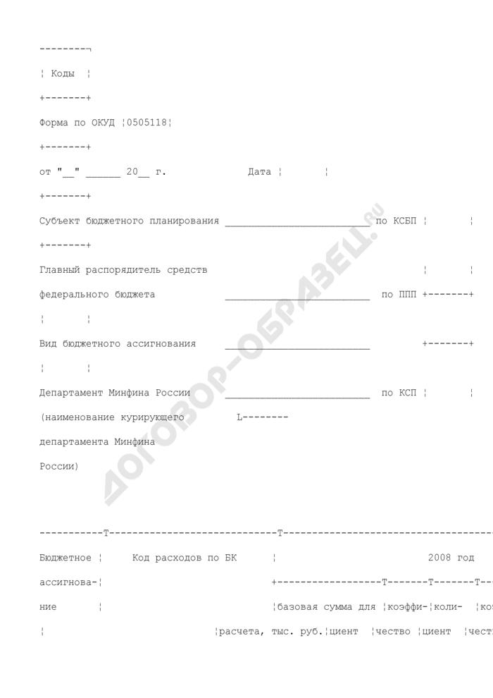 Расчет объемов (изменений объемов) бюджетных ассигнований на исполнение действующих расходных обязательств по выплате денежного содержания (денежного довольствия). Страница 1