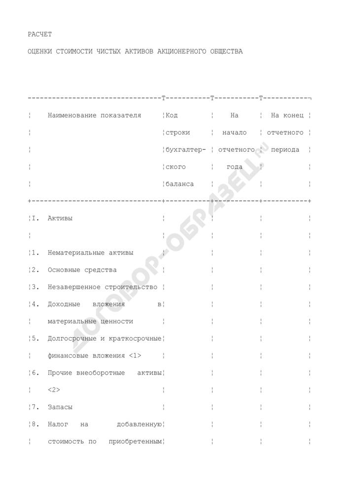 Расчет оценки стоимости чистых активов акционерного общества. Страница 1