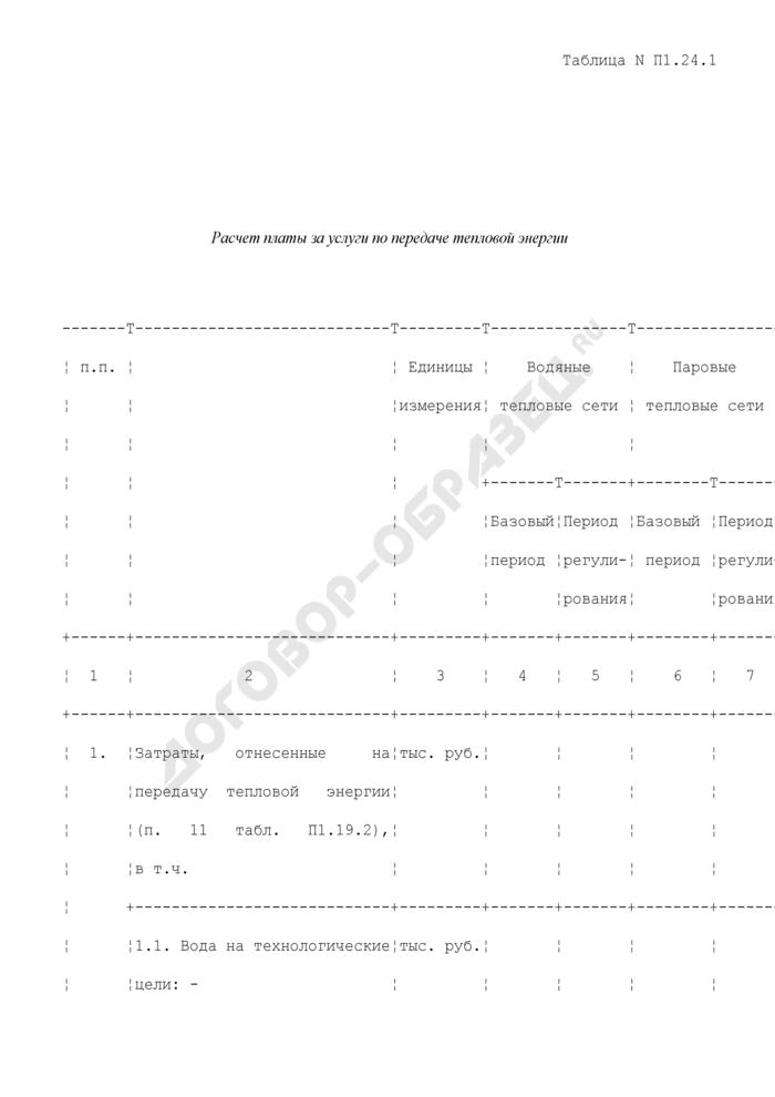 Расчет платы за услуги по передаче тепловой энергии (таблица N П1.24.1). Страница 1