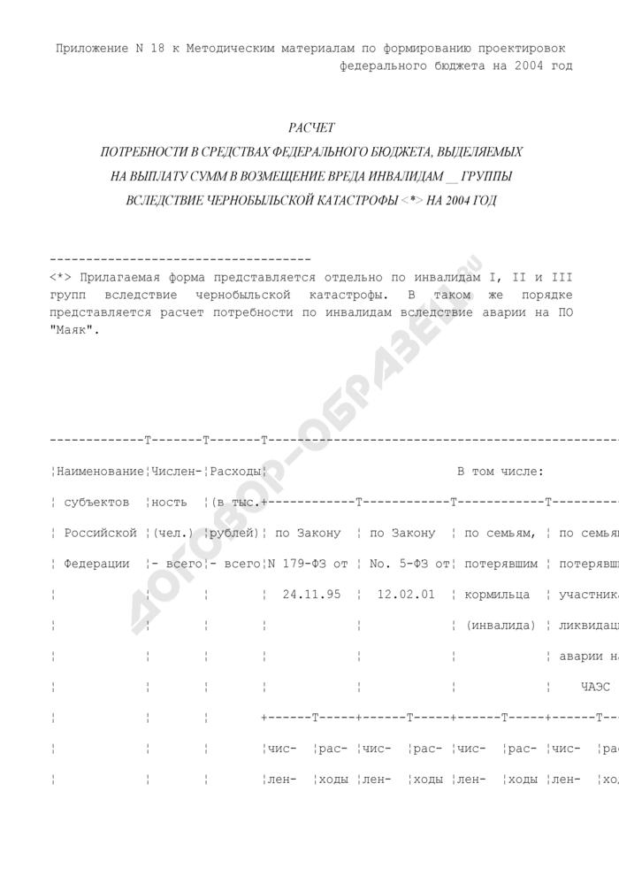 Расчет потребности в средствах федерального бюджета, выделяемых на выплату сумм в возмещение вреда инвалидам вследствие чернобыльской катастрофы на год. Страница 1