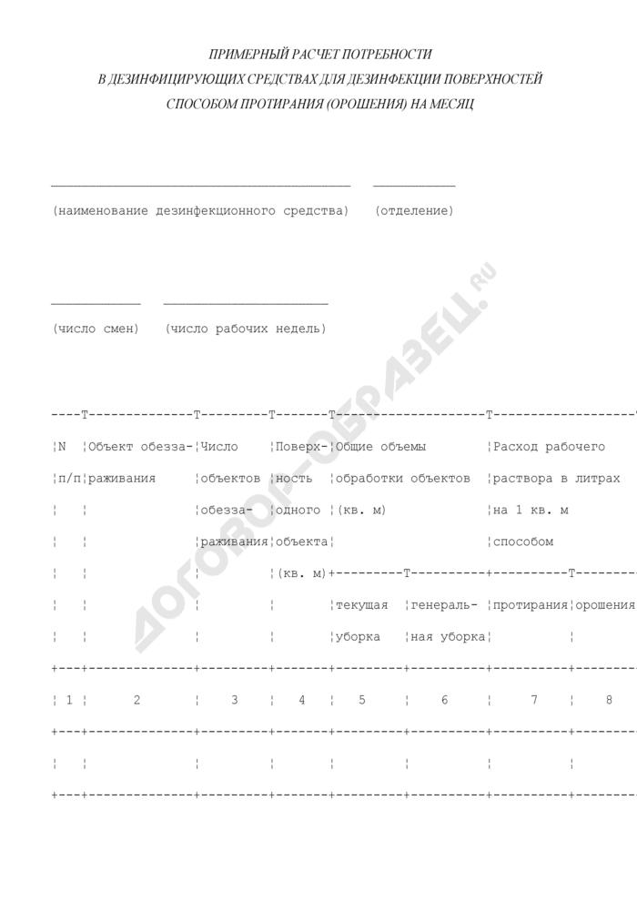 Примерный расчет потребности учреждения социальной защиты населения г. Москвы в дезинфицирующих средствах для дезинфекции поверхностей способом протирания (орошения) на месяц. Страница 1