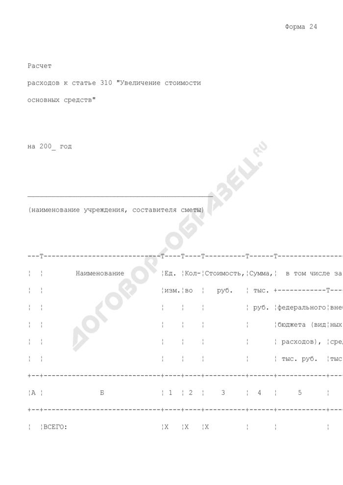 """Расчет расходов бюджетного учреждения к статье 310 """"Увеличение стоимости основных средств"""". Форма N 24. Страница 1"""