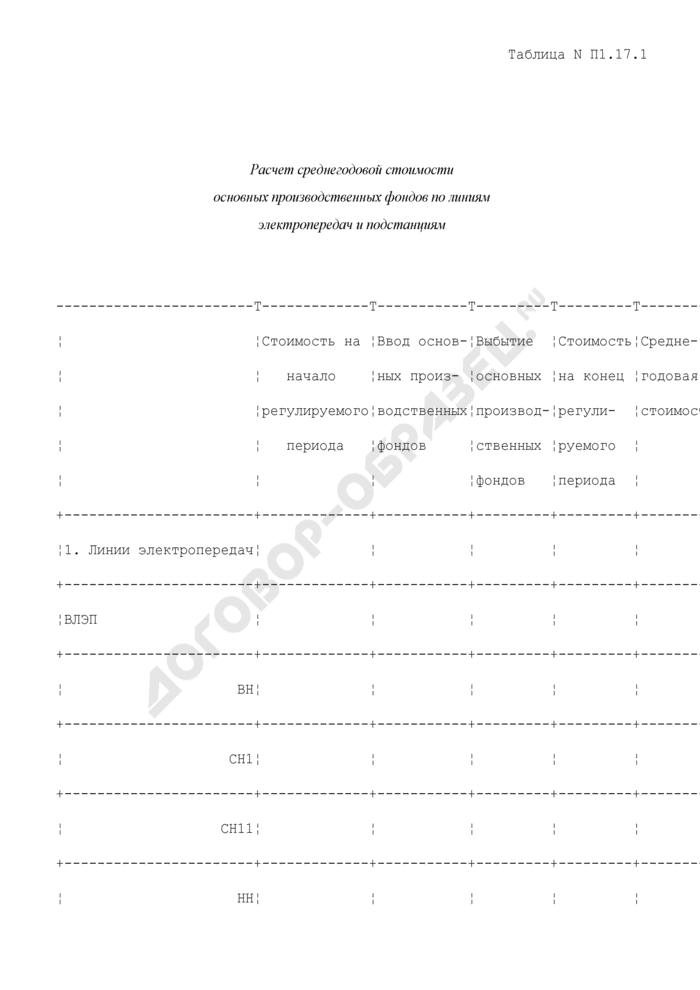 Расчет среднегодовой стоимости основных производственных фондов по линиям электропередач и подстанциям (таблица N П1.17.1). Страница 1