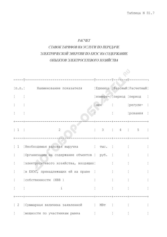 Расчет ставок тарифов на услуги по передаче электрической энергии по ЕНЭС на содержание объектов электросетевого хозяйства. Страница 1