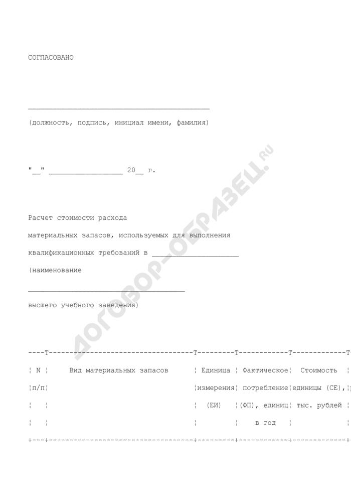 Расчет стоимости расхода материальных запасов, используемых для выполнения квалификационных требований в высшем учебном заведении. Страница 1