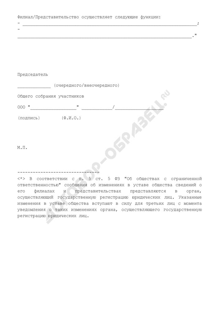 Изменения, вносимые в устав общества с ограниченной ответственностью в связи с созданием филиала/открытием представительства. Страница 2