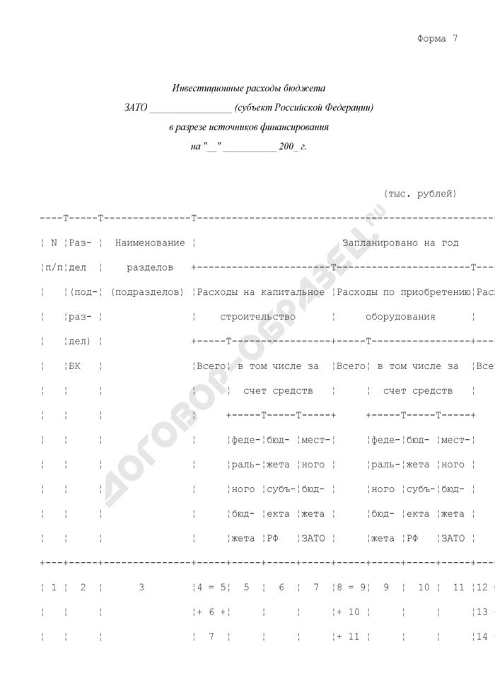 Инвестиционные расходы бюджета закрытого административно-территориального образования субъекта Российской Федерации в разрезе источников финансирования. Форма N 7. Страница 1