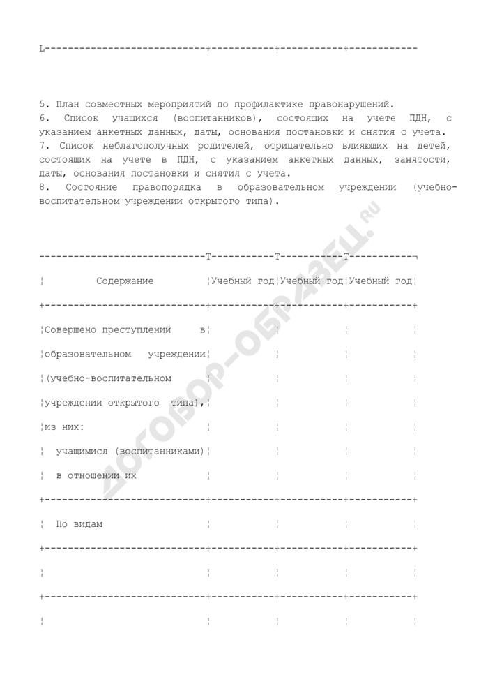 Информационно-статистические материалы на образовательное учреждение (учебно-воспитательное учреждение открытого типа). Страница 3
