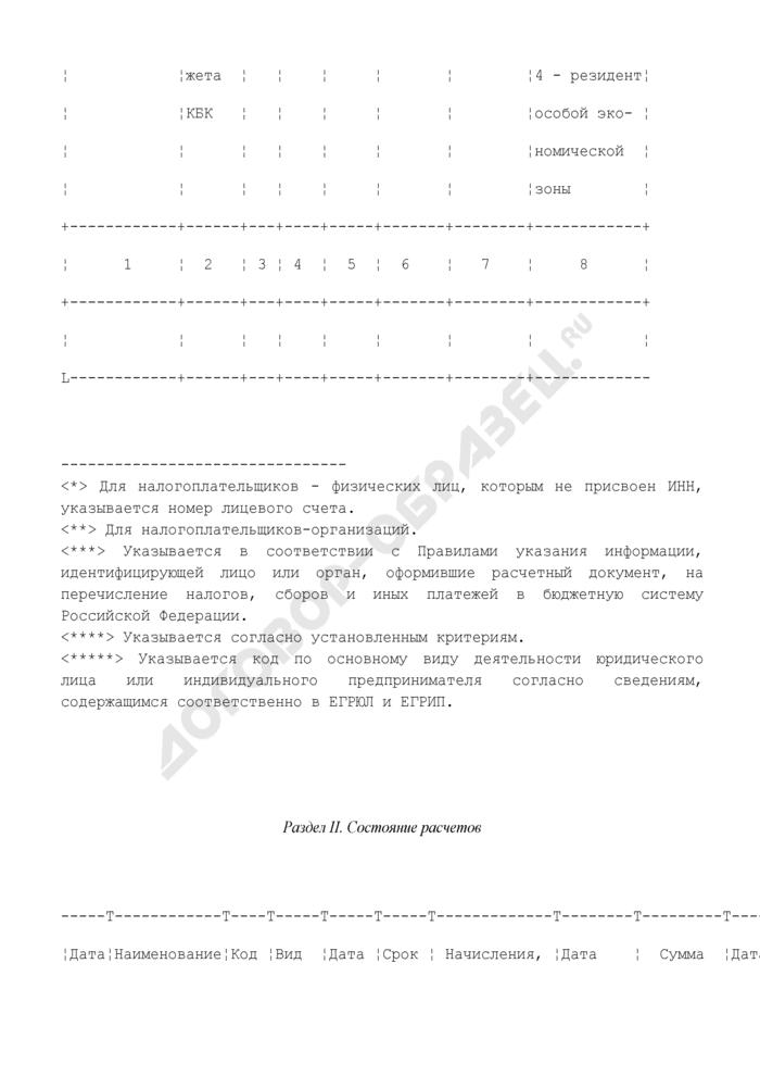 """Карточка """"Расчеты с бюджетом"""" местного уровня по налогу (сбору, взносу). Форма N 6. Страница 2"""