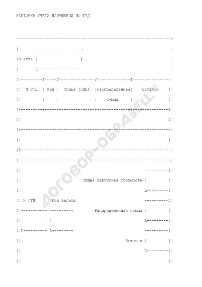 Карточка учета нарушений по грузовой таможенной декларации (кунг), содержащая сведения о выявленных таможенными органами случаях нарушения участником внешнеэкономической деятельности валютного законодательства Российской Федерации. Страница 1
