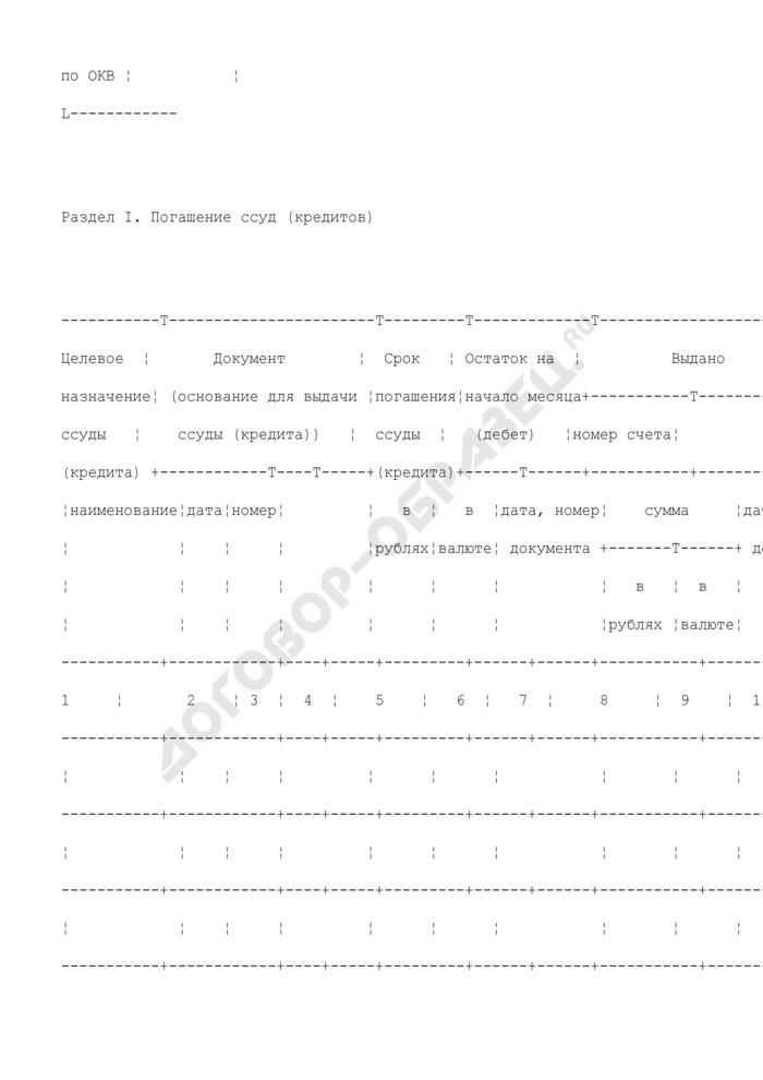 Карточка учета выданных ссуд (кредитов) для ведения бюджетного учета органами государственной власти Российской Федерации, федеральными государственными учреждениями. Страница 2