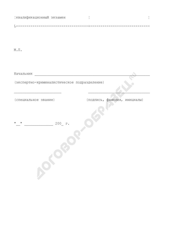 Квалификационный лист эксперта на право самостоятельного производства судебных экспертиз. Страница 2