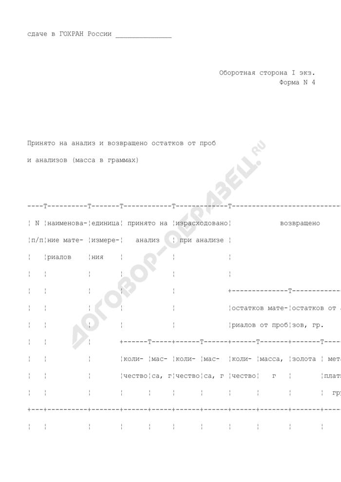 Квитанция госинспекции пробирного надзора о принятии материалов на анализ (изготовление реактивов) (I экземпляр). Форма N 4. Страница 3