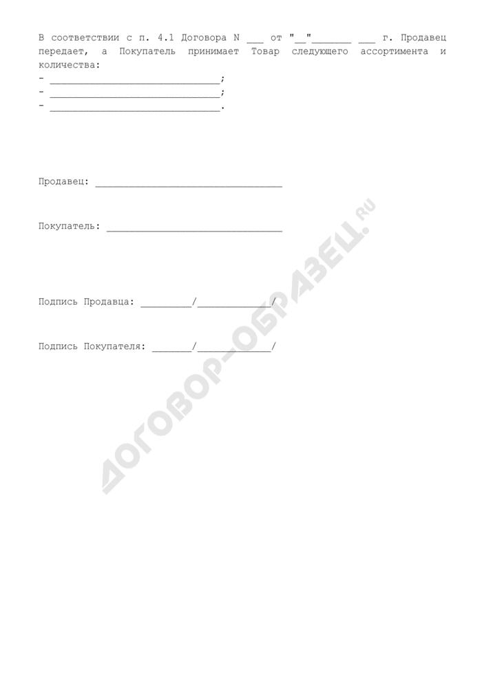 Количество и ассортимент товара (Приложение к Договору купли-продажи строительных материалов между физическими лицами). Страница 1
