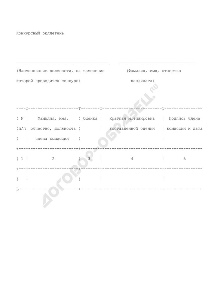 Конкурсный бюллетень кандидата на вакантную должность государственной гражданской службы в Федеральном агентстве по энергетике. Страница 1