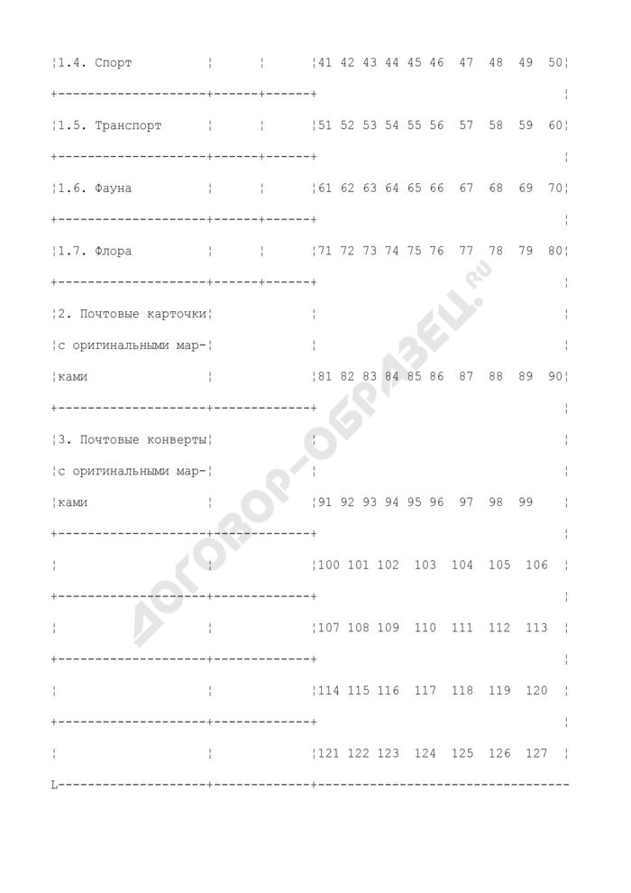 Контрольная карточка к абонементу на получение работниками учреждений федеральной почтовой связи выпускаемых в обращение почтовых марок, блоков, карточек и конвертов с оригинальными марками. Страница 2