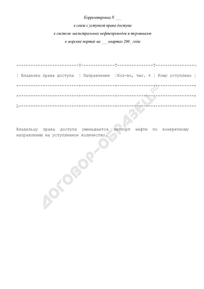 Корректировка в связи с уступкой права доступа к системе магистральных нефтепроводов и терминалов в морских портах (рекомендуемая форма). Страница 1