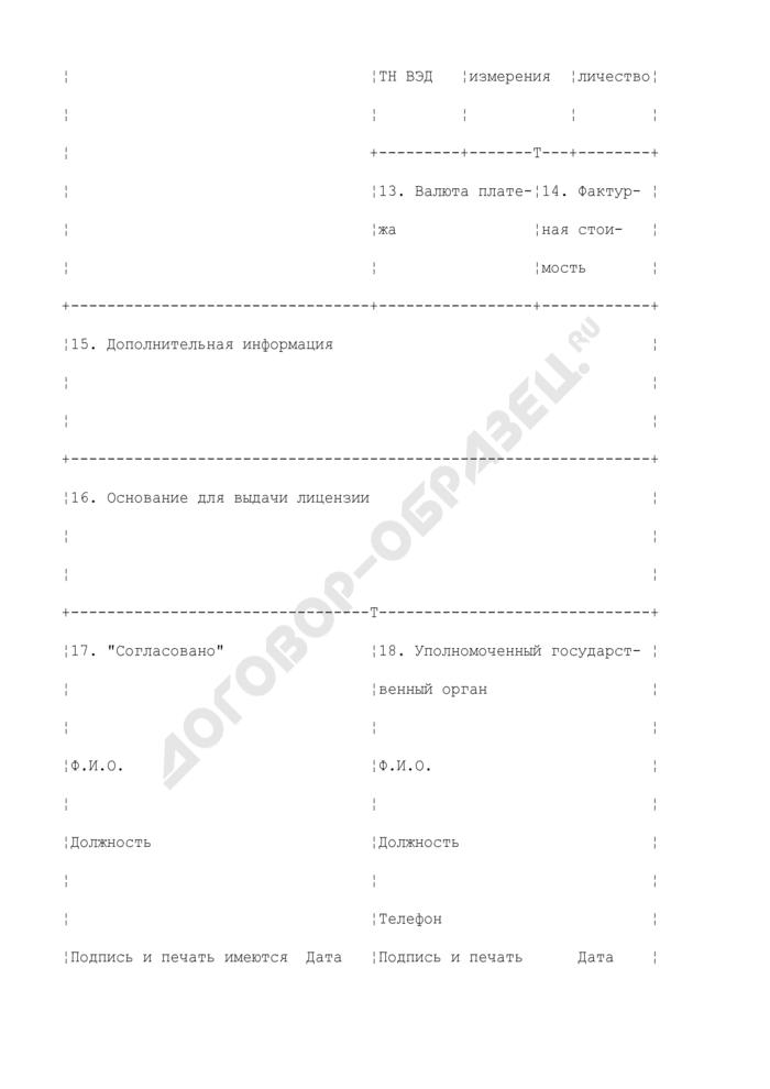 Лицензия на экспорт и (или) импорт отдельных видов товаров. Страница 2