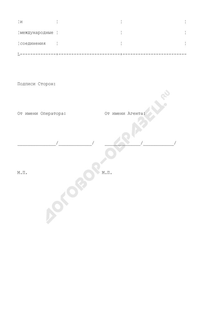 """Минимальные цены на контракты (приложение к агентскому договору на распространение услуги """"Персональный номер""""). Страница 2"""