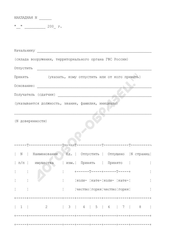 Накладная на выдачу (прием) со склада вооружения оружия. Форма N 26. Страница 1