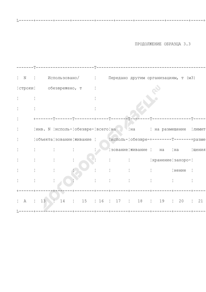 Баланс массы отходов за отчетный период (образец). Страница 2