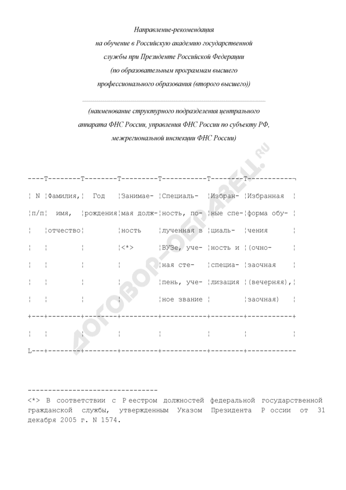 Направление-рекомендация на обучение в Российскую академию государственной службы при Президенте Российской Федерации. Страница 1