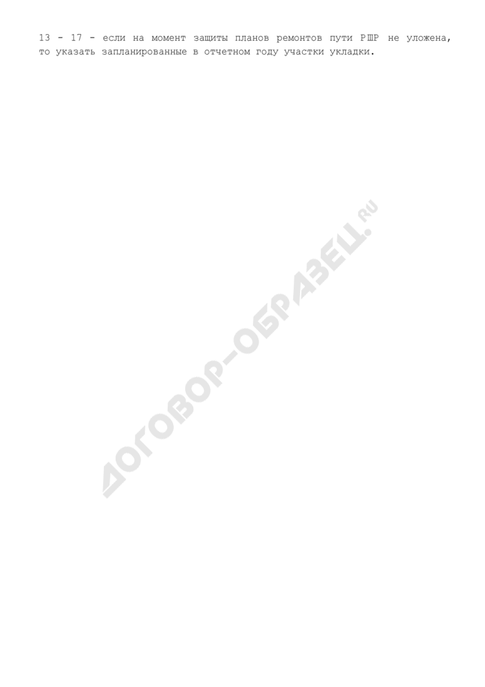 Баланс повторного использования рельсошпальной решетки на железобетонных шпалах при планировании объемов ремонтно-путевых работ. Форма N П.1.5. Страница 2