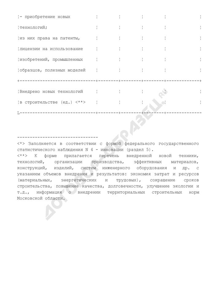 Научно-технический уровень производства строительной организации Московской области. Форма N 4. Страница 2