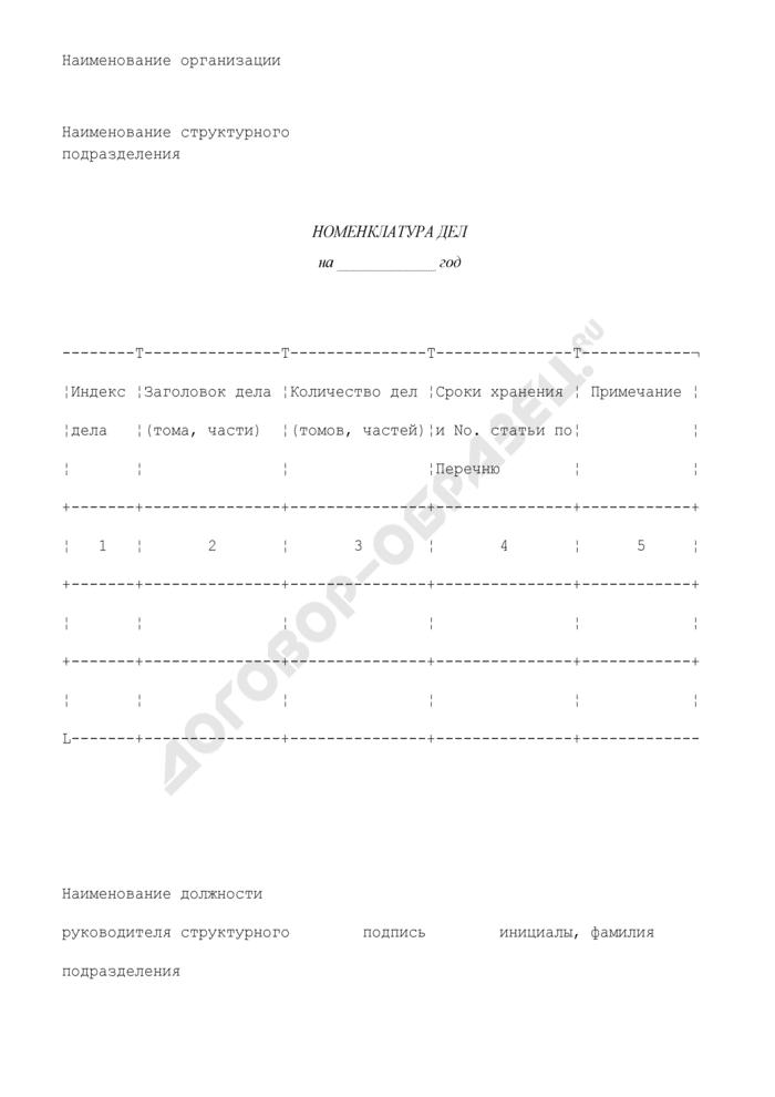 Номенклатура дел (типовая форма; не засчитывается в общее количество; не оплачивается)(приложение к инструкции по делопроизводству). Страница 1